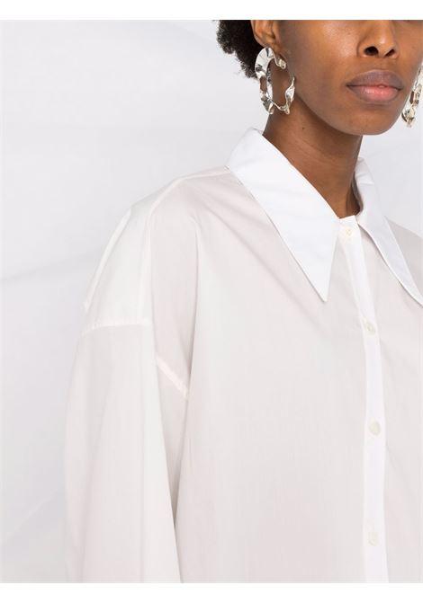 White wrap-front long-sleeve shirt - women  LEMAIRE | W213SH254LF588001