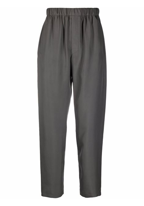 Gunmetal grey elasticated-waist silk trousers - unisex LEMAIRE | X213PA174LF634985
