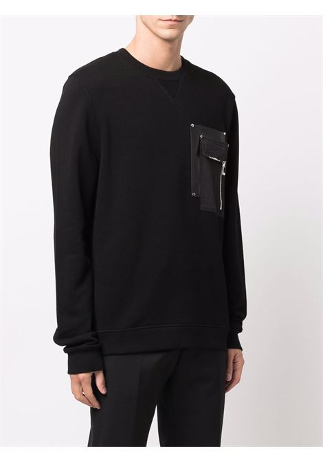 Patch-pocket sweatshirt in black - men LES HOMMES | LLH102758L9000