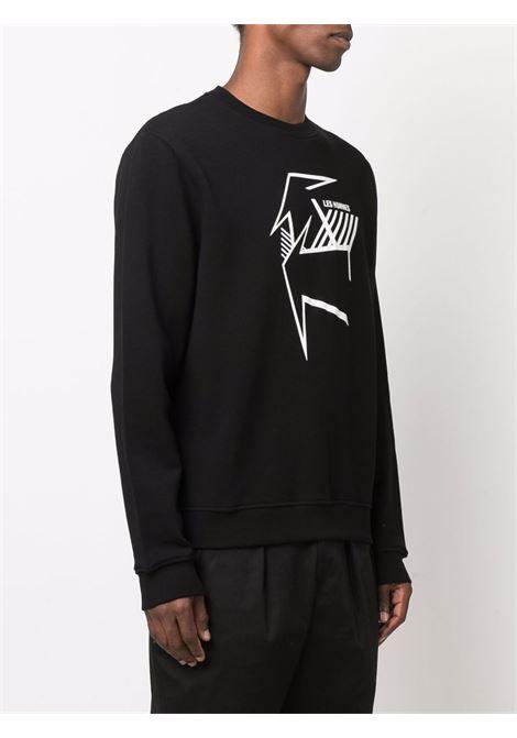 Graphic-print crew-neck sweatshirt in black - men  LES HOMMES | LLH411758P9000