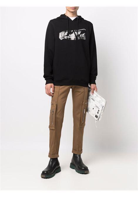 Graphic-print crew-neck sweatshirt in black - men  LES HOMMES | LLH451758P9000
