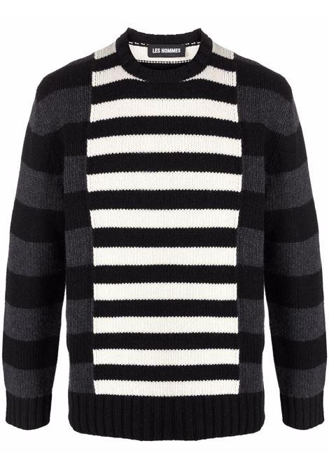 Colour-block striped jumper in black, white and grey - men  LES HOMMES | LLK113654U9018