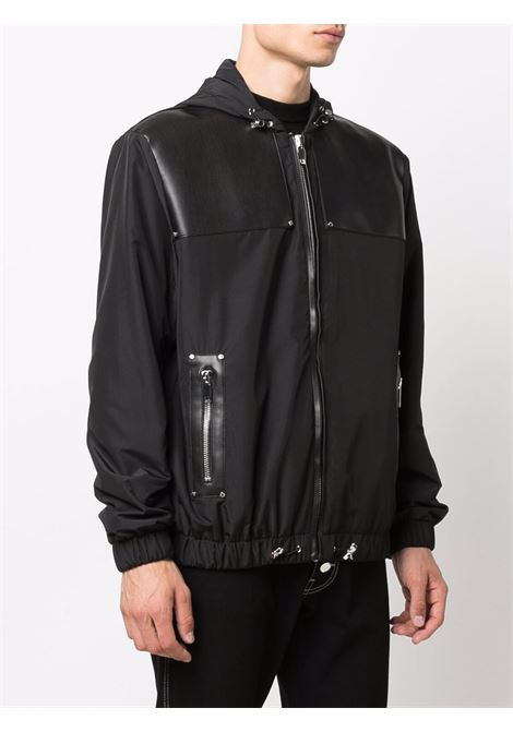 Tonal contrast-panel zipped jacket in black - men LES HOMMES | LLO311250L9000