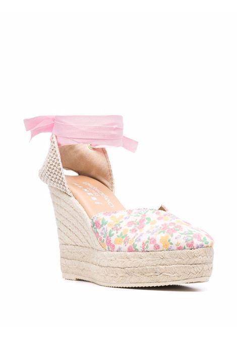 Espadrillas con zeppa a fiori bianco rosa- donna LOVE SHACK FANCY LOVES MANEBI | L60WHFRTYPNCH
