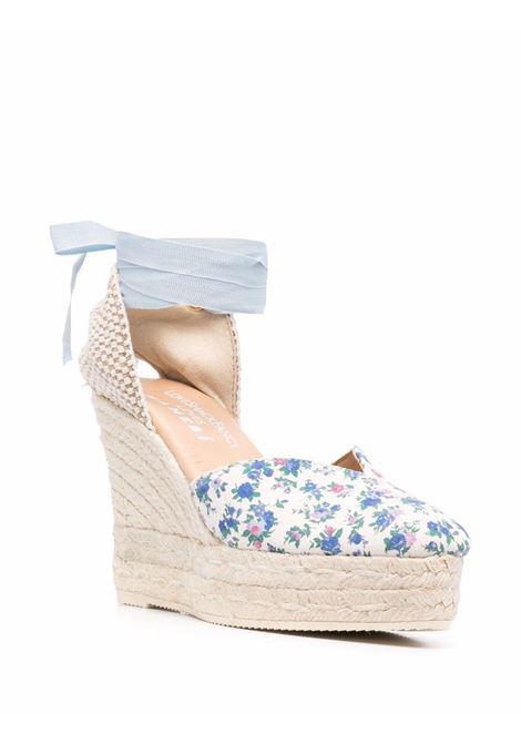 Espadrillas con zeppa a fiori bianco blu- donna LOVE SHACK FANCY LOVES MANEBI | L62WHBLJYSNG