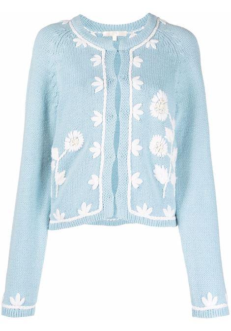 Cardigan a fiori in azzurro - donna LOVE SHACK FANCY LOVES MANEBI   LK595868CNFBY