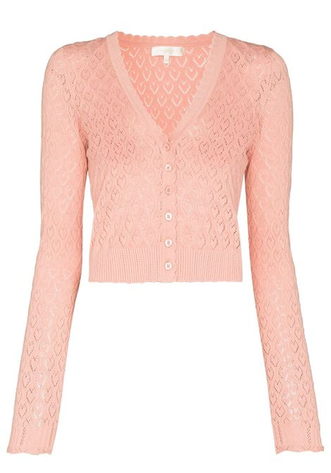 Cardigan crop con scollo a V Janie in rosa - donna LOVE SHACK FANCY LOVES MANEBI   LK624874TURSE