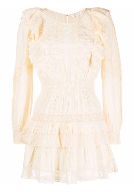 Ivory lace ruffle dress in ivory white - women  LOVESHACKFANCY | D1231898IVRY