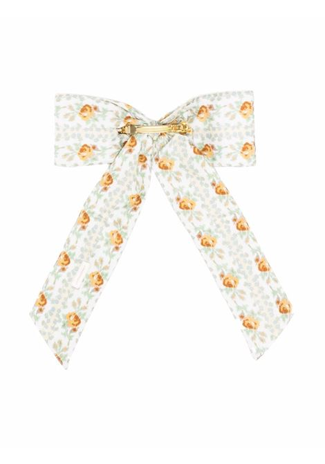 Multicolored floral hair bow in apricot ice - women  LOVESHACKFANCY | LA079907APRIC