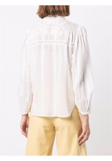 White high-neck button blouse - women  LOVESHACKFANCY | LT576493ANTWH