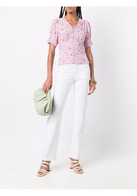 Dusty pink short-sleeve floral top - women  LOVESHACKFANCY | LT769878PIDST