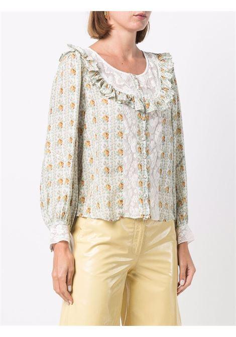 Multicolored patterned long-sleeve blouse - women  LOVESHACKFANCY | LT794907APRIC