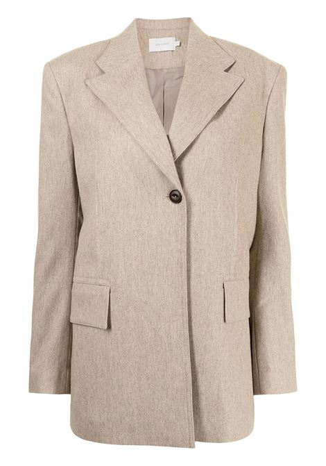 Oatmeal beige oversized single-breasted blazer - women  LOW CLASSIC | LOW21FWBZ05OTML