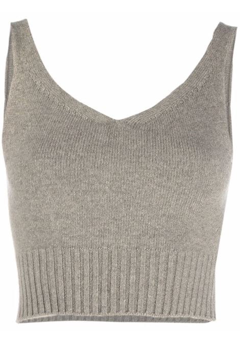 Light khaki cropped knitted top - women  LOW CLASSIC | LOW21FWKN01LGHTKHK