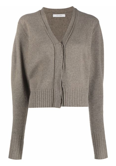 Light khaki V-neck wool-cashmere cardigan - women  LOW CLASSIC | LOW21FWKN03LGHTKHK
