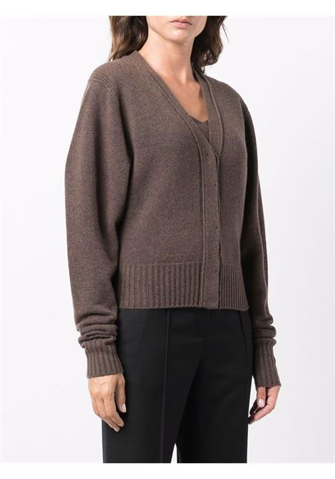 Brown V-neck wool-cashmere cardigan - women  LOW CLASSIC | LOW21FWKN04BRWN