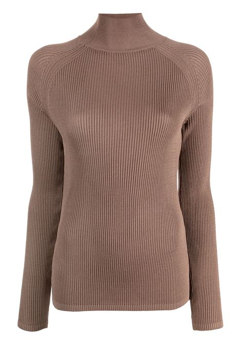 Brown ribbed-knit turtleneck jumper - women  LOW CLASSIC | LOW21FWKN10BRWN