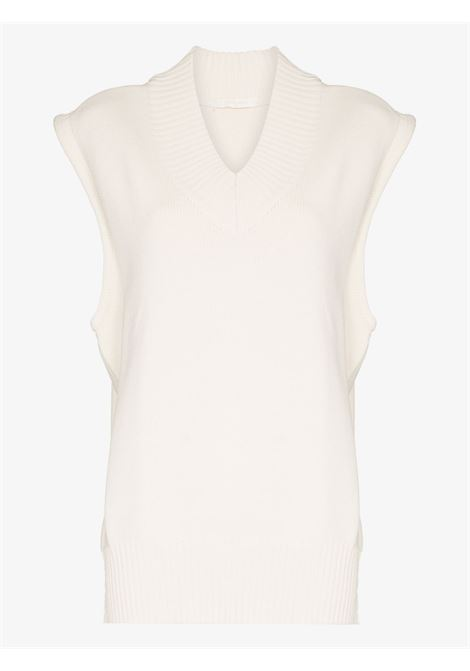 Ivory V-neck knitted vest - women  LOW CLASSIC | LOW21FWKN18IVR