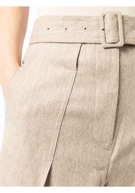Oatmeal beige belted tailored trousers - women  LOW CLASSIC | LOW21FWPT14OTML