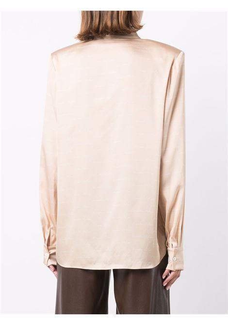 Camicia con stampa logo sulle spalle strutturate in beige e bianca - donna MAGDA BUTRYM   146921BG