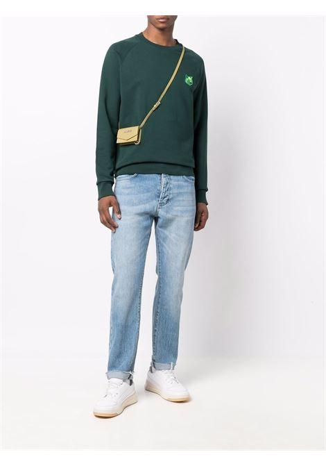 Fox-patch sweatshirt in green - men MAISON KITSUNÉ | HM00334KM0001P390