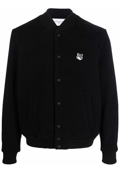 Logo-patch bomber jacket in black - men MAISON KITSUNÉ | HU02208WM0002P198