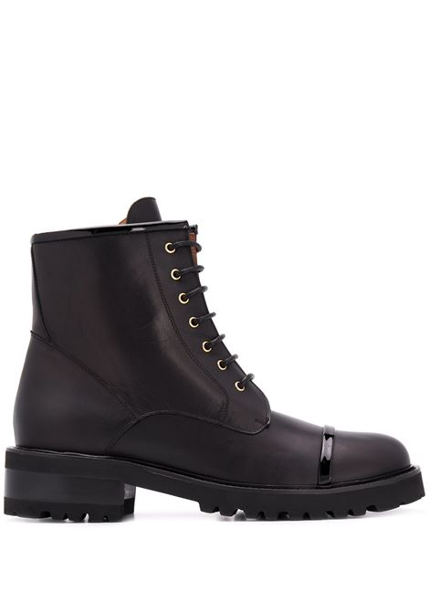 Chunky lace-up leather boots black - women MALONE SOULIERS | BRYCE1BLK