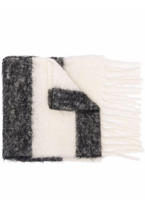 Grey and white striped logo scarf - men  MARNI | ASZC0010A0UTW937STN99
