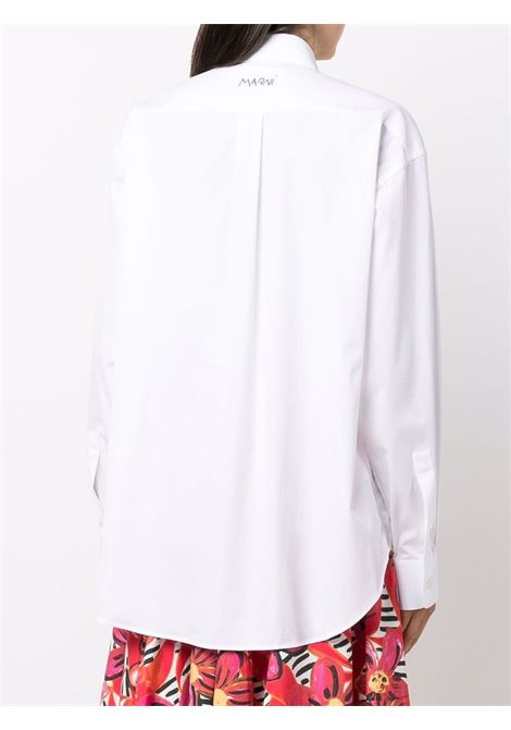 Ruffle-trimmed shirt in white - women MARNI | CAMA0444MXUTCZ5600W01