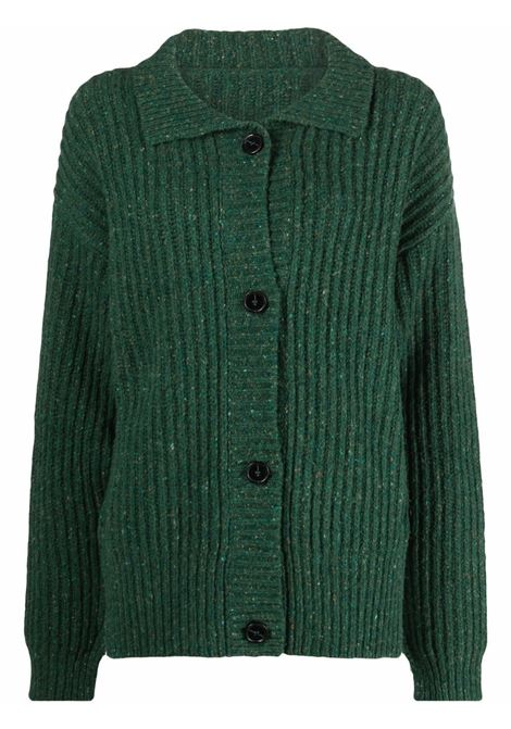 Collared ribbed cardigan in emerald green - women MARNI | CDMD0241A0UFWH0300V60