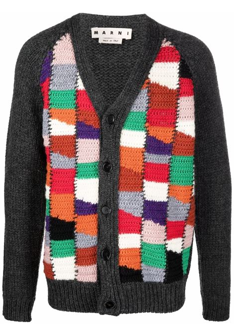 Crochet cardigan in grey and multicolour - men  MARNI | CDMG0059Q0UFH929MXX99