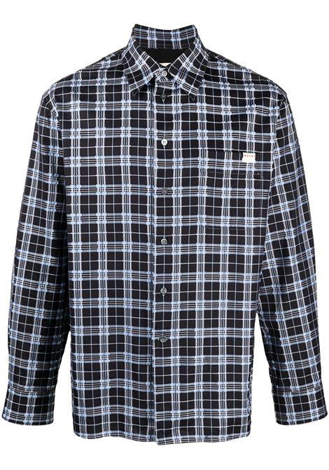Check-pattern buttoned shirt in blue - men  MARNI | CUMU0212A0UTC039CHN99