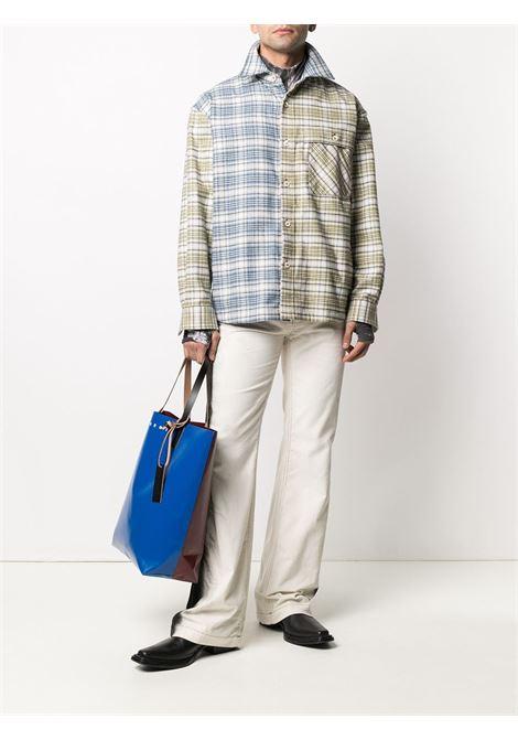 Panelled checked shirt in multicolored - men  MARNI | CUMU0222RRUTC026Y4476