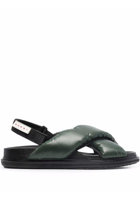 Forest green crossover-strap sandals - men MARNI | FBMR002101P4345ZI889