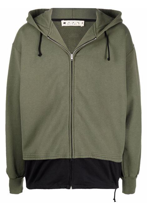 Green layered zipped sweathsirt - men  MARNI | FUMU0047QSUTC022Y4503