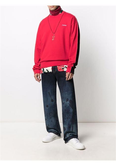 Red and black colour-block sweatshirt - men  MARNI | FUMU0096QSUTC067Y4526