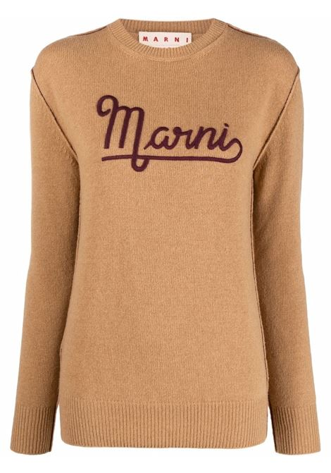 Logo-print knitted jumper beige- women MARNI | GCMD0283Q0UFH52500W58