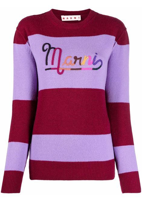 Maglione a righe in rosso e viola - donna MARNI | GCMD0283Q1UFH525RGR79