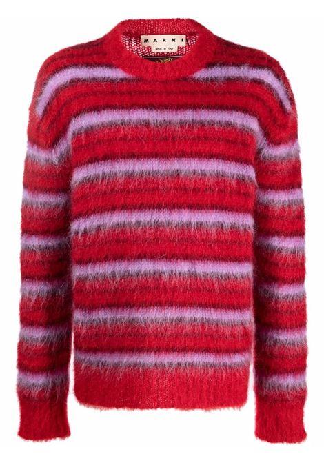 Red striped knitted jumper - men  MARNI | GCMG0161Q0UFU116RGR66