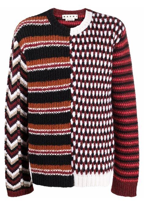 Multicolored patterned crew neck jumper - men  MARNI | GCMG0220Q0YFW029MXR92
