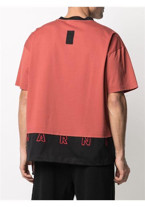 Colour block drawstring T-shirt black and red - men  MARNI | HUMU0034QSUTC017Y4494