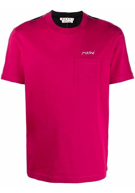 Pink and black colour-block logo-print T-shirt - men  MARNI | HUMU0237QSUTCZ57Y4528