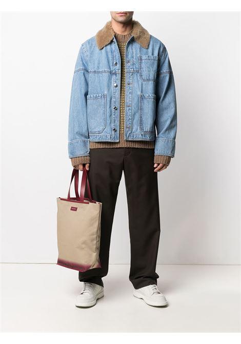 Blue tartan-panel denim jacket - men  MARNI | JUJU0023RRUTC047Y4489