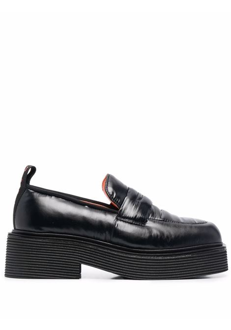 Black chunky leather penny loafers - women  MARNI | MOMS002604P434500N99
