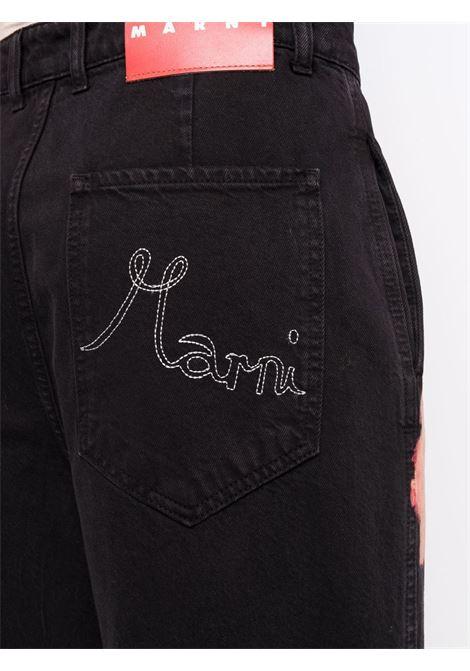 Mid-rise bleached-effect jeans in black - women MARNI | PAJDV05MX6USCS20SUR30