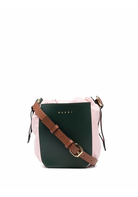 Forest-green and baby-pink two-tone drawstring bucket bag - women MARNI | SBMP0030Q4LV589Z2O48