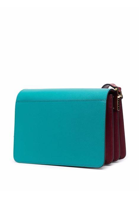 Blue colour-block leather shoulder bag - men  MARNI | SBMPN09U39LV520Z477N