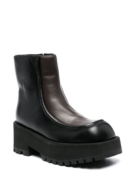 Square-toe leather boots black and brown - women MARNI | TCMS002806P3387Z1Q68