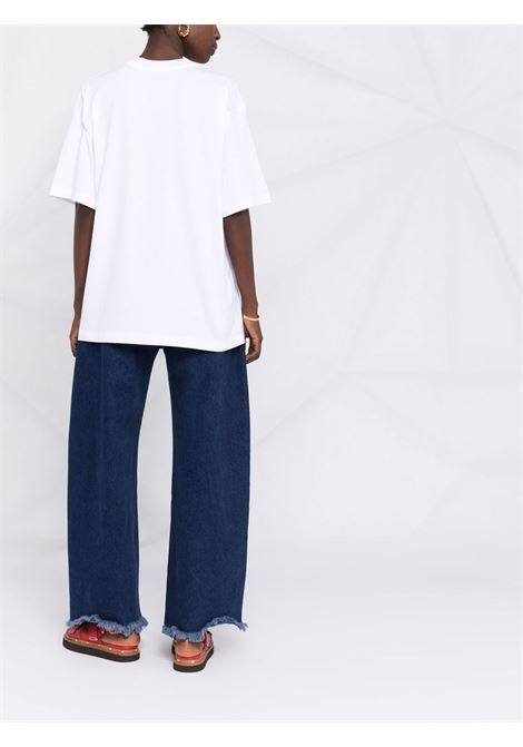 White logo-print crew-neck t-shirt - women MARNI | THJET49EPHUSCS11LOW11