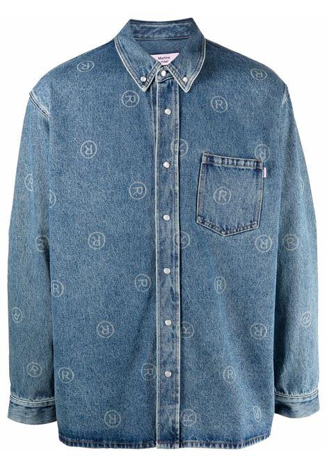 Camicia con stampa in blu - uomo MARTINE ROSE | M224DUMR063
